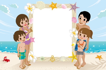 message board: Swimwear Family and message board Illustration