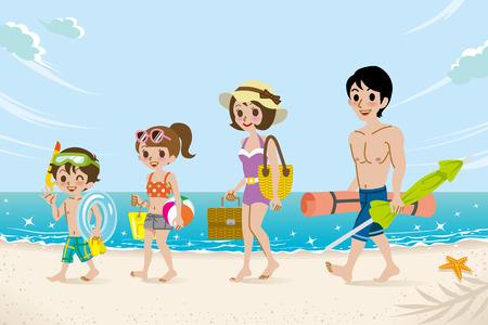 ビーチで水着家族  イラスト・ベクター素材