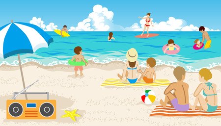 bathers: Playful people in Summer beach Illustration