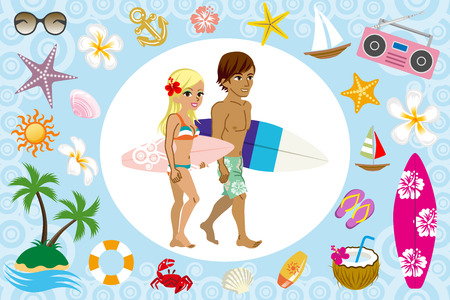 Surfer couple and sea icon Vector