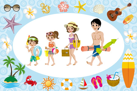 ukulele: Swimwear family and sea icon Illustration