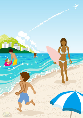 seawater: People in Summer beach,Vertical Illustration