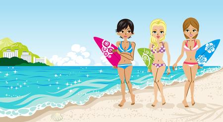 surf girl: Surfer girls in the Beach