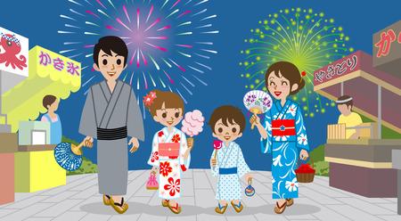 日本の花火を楽しむ家族  イラスト・ベクター素材