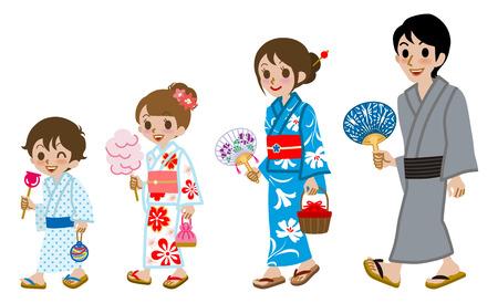 family isolated: Yukata family Isolated