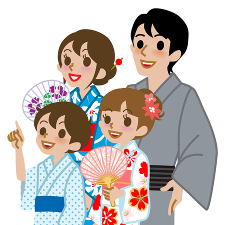 waist up: Yukata family Isolated,Waist Up Illustration