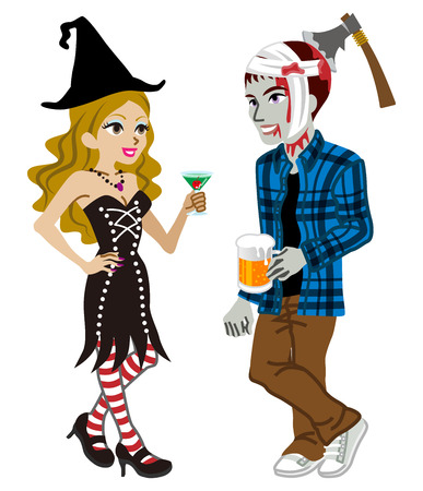 dressing up party: Halloween couple,Witch and undead,Isolated