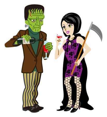period costume: Halloween couple, Frankenstein and Death ,Isolated