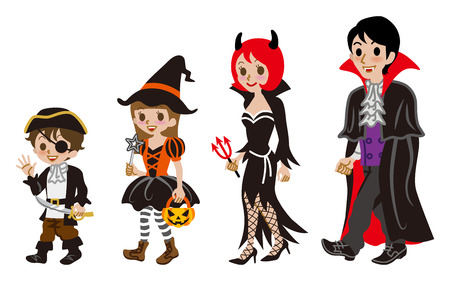 period costume: Halloween Family,Isolated Illustration