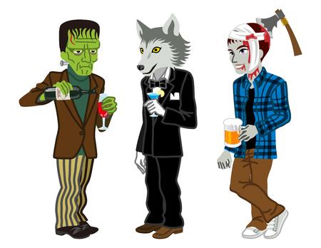 clipart frankenstein: Halloween Costumed three men,Isolated Illustration