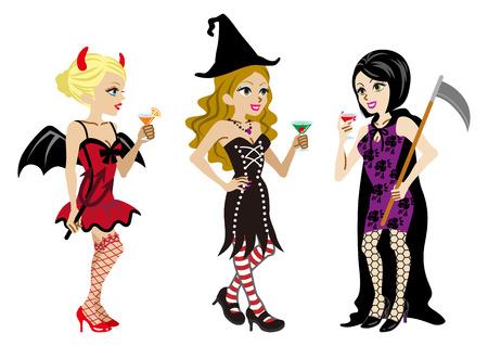 Halloween Costumed three Women,Isolated Vector