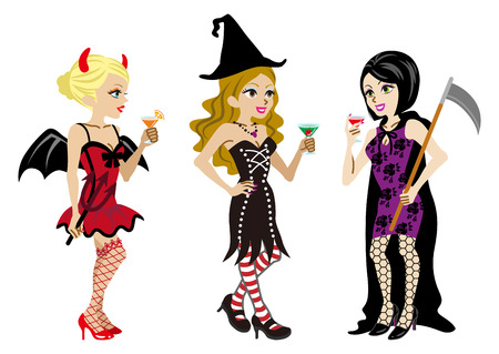 dressing up party: Halloween Costumed three Women,Isolated Illustration