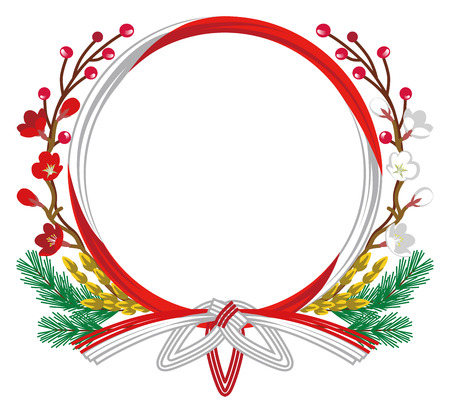 japanese ethnicity: Japanese Traditional Wreath-Clip art Illustration