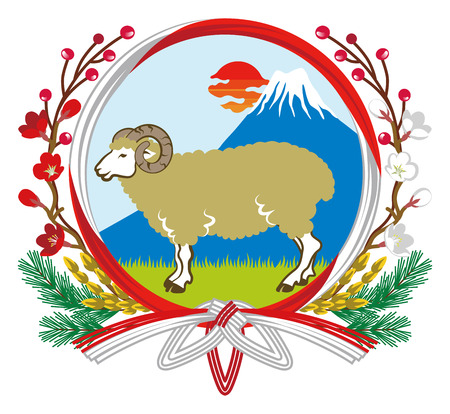 New Year ornament Sheep and Fuji -Clip art Vector
