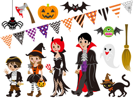 Halloween Family and Monsters set Vector
