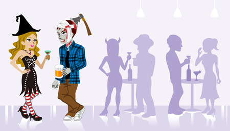 undead: Halloween Party,Witch and undead Illustration