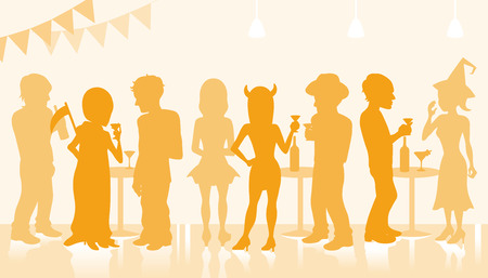 dressing up party: Halloween Party Silhouette Illustration
