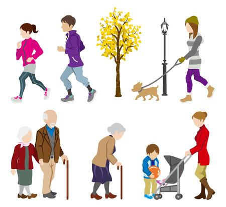 personas caminando: Varios Gente Actividad en oto�o Vectores