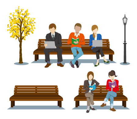 clipart street light: Sitting on the Bench,Various People