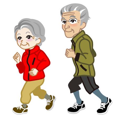 Running Senior couple Isolated Illustration