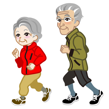 granddad: Running Senior couple Isolated Illustration