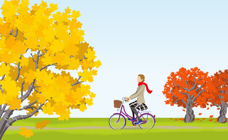 tree lined street: Woman cycling in Autumn