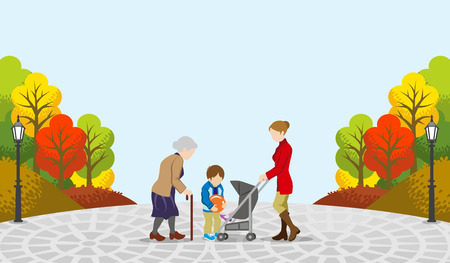 retirement community: People communicate in the Autumn park