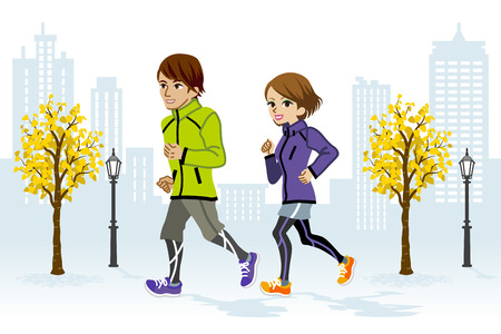 Couple Running in the urban park Vector