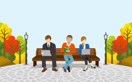 autumn park: Three people sitting on the bench, Autumn park