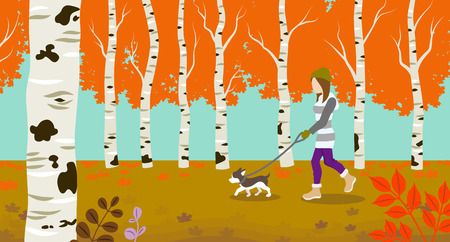 Dog walking in Autumn nature  イラスト・ベクター素材