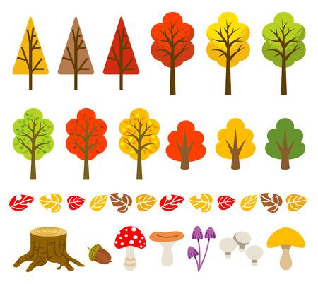 Autumn tree and mushroom set Stock Illustratie
