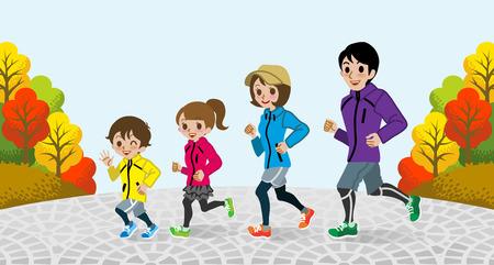 autumn park: Running Family in the Autumn park