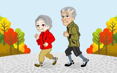 autumn park: Running Senior Couple in the Autumn park