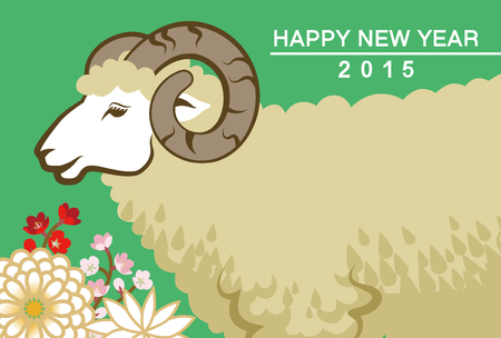 Sheep and Flowers, Side view Vector