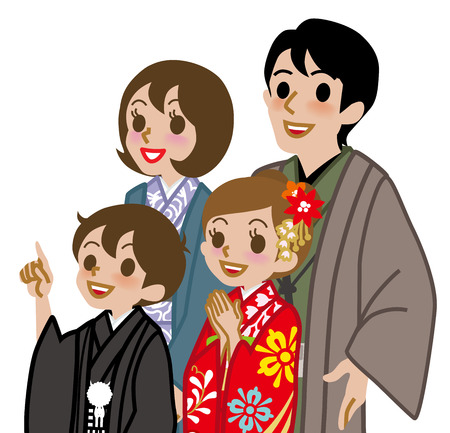 family with two children: Kimono family,Waist Up