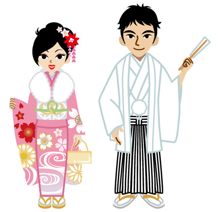 japanese kimono: Young Kimono couple,Isolated