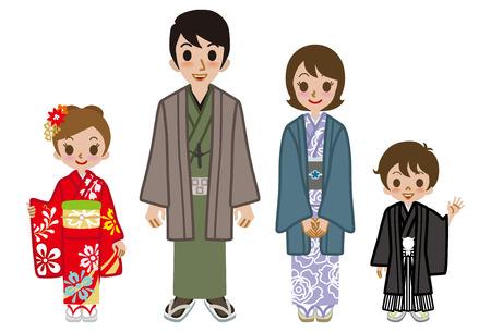 Japanese family wearing Kimono Vector