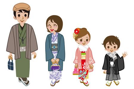 Kimono family walking, front view Illustration