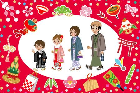 luck charms: Kimono Family and Japanese good luck charms