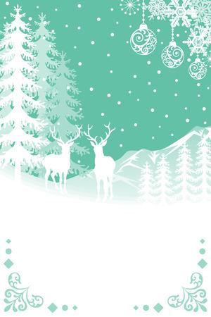 reindeer silhouette: Reindeer in Nature - BlueGreen