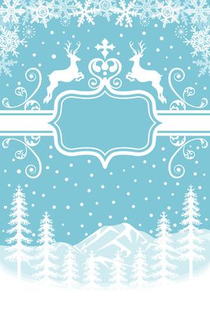 christmas snow scene: Reindeer in Nature - Blue Illustration