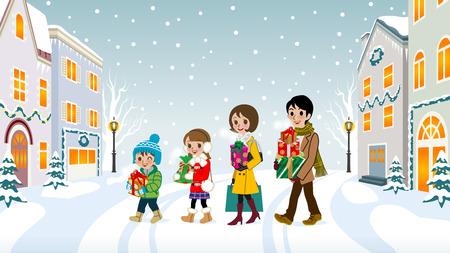 winter girl: Family walking in Christmas town