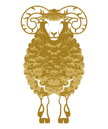 chinese new year card: Sheep front view-golden color-Clip art
