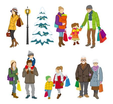 家族の人冬のショッピング  イラスト・ベクター素材
