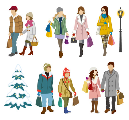 young adults: Shopping people winter, Young Adults Illustration