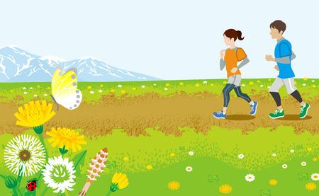Running couple in Spring  road Stock Illustratie