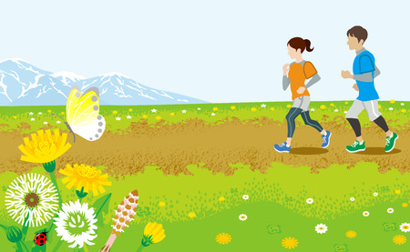 two roads: Running couple in Spring  road Illustration