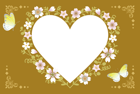 brown background: Spring Flower Wreath-Heart Brown