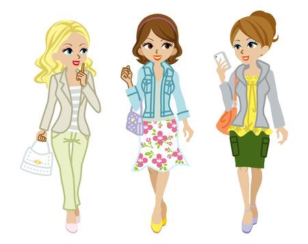 ファッションの女の子春を歩く
