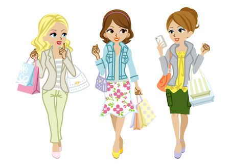 ショッピングの女の子の春のファッション